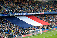 the National flag of France is displayed before k/o. in a mark of respect recent terrorist attacks in France. Barclays Premier league match, Chelsea v Norwich city at Stamford Bridge in London on Saturday 21st November 2015.<br /> pic by John Patrick Fletcher, Andrew Orchard sports photography.