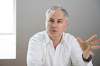 21 MAY 2012, BERLIN/GERMANY:<br /> Christophe F. Maire, Gruender / CEO txtr, Inhaber atlantic ventures, Investor und  Business Angel, waehrend einem Interview, txtr GmbH, Rosenthaler Str., Berlin-Mitte<br /> IMAGE: 20120521-02-006<br /> KEYWORDS: Christophe Maire