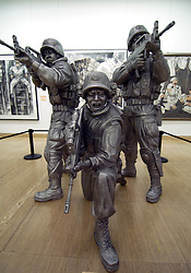 Modern art sculpture of People s Liberation Army PLA soldiers at China Art Gallery in Beijing China