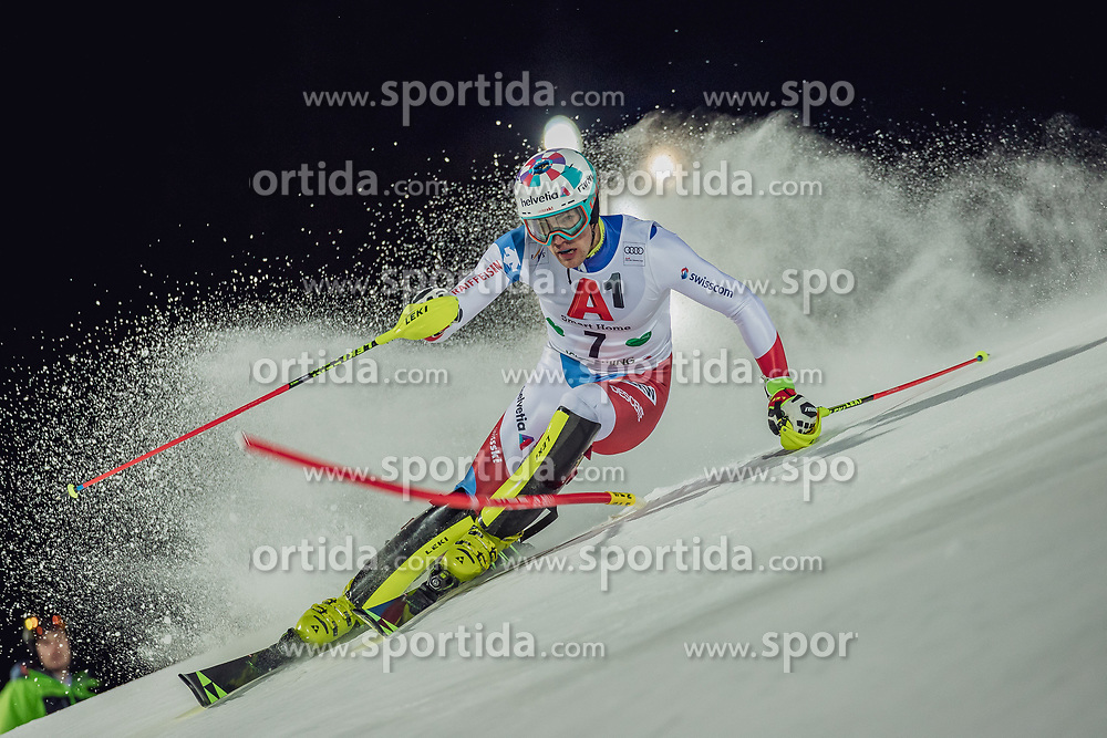"""29.01.2019, Planai, Schladming, AUT, FIS Weltcup Ski Alpin, Slalom, Herren, 1. Lauf, im Bild Daniel Yule (SUI) // Daniel Yule of Switzerland in action during his 1st run of men's Slalom """"the Nightrace"""" of FIS ski alpine world cup at the Planai in Schladming, Austria on 2019/01/29. EXPA Pictures © 2019, PhotoCredit: EXPA/ Dominik Angerer"""