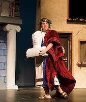 """Senex played by Ryan Hall during Tuesday's dress rehearsal for """"A Funny Thing Happened on the Way to the Forum"""" presented by Gilford High School's performing arts department.   (Karen Bobotas/for the Laconia Daily Sun)"""