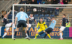 Dundee's Pater MacDonald misses.<br /> Falkirk 2 v 0 Dundee, Scottish Championship game at The Falkirk Stadium.<br /> © Michael Schofield.