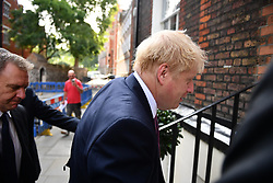 © Licensed to London News Pictures. 22/07/2019. London, UK. Conservative Party leadership candidate BORIS JOHNSON is seen at his campaign headquarters in Westminster, London. This week the Conservative Party will select a new leader and Prime Minister, following Theresa May's announcement that she will step down. Photo credit: Ben Cawthra/LNP