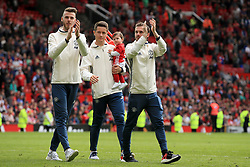 21 May 2017 - Premier League Football - Manchester United v Crystal Palace - Manchester United goalkeeper David De Gea takes the applause of the crowd with Ander Herrera and Juan Mata - Photo: Paul Roberts / Offside