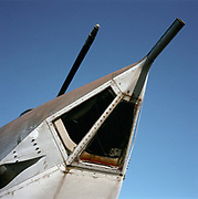 A detail of the bomb-aimer's window in the nose of a Victor bomber from the nuclear Cold War V-bomber era. The Handley Page Victor was a British jet-powered strategic bomber, developed and produced by the Handley Page Aircraft Company and served during the Cold War. It was the third and final of the V-bombers operated by the Royal Air Force (RAF)