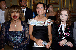 Tina Turner, here with Roberta Armani and Isabelle Huppert, attended the Giorgio Armani Prive Haute Couture Fall/Winter 2018-2019 show in Paris, France on Tuesday July 3, 2018, hours before her son was found dead from suicide. The 78-year-old singer's eldest son Craig Raymond Turner was found dead of a self-inflicted gunshot wound, aged 59, at his home in Studio City, California, TMZ reports. Photo by