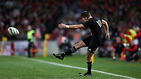 Rugby Union - 2017 British & Irish Lions Tour of New Zealand - First Test: New Zealand vs. British & Irish Lions<br /> <br /> Beauden Barrett of The All Blacks kicks a conversion at Eden Park, Auckland.<br /> <br /> COLORSPORT/LYNNE CAMERON