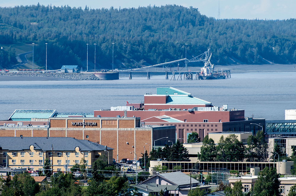 Alaska View of Nordstrom department store, 5th Avenue Mall and Knik Arm and Cook Inet with the Port McKenzie Dock