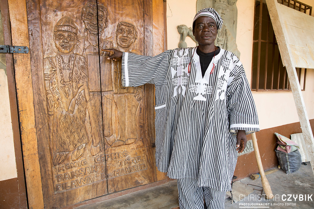 King Cephas Bansah visits his school in Hohoe, Ghana on September 5th, 2016.<br /> <br /> Jörg Pilawa was one of the donors who received a wooden door.<br /> <br /> Cephas Bansag International Children Help E.V. Germany School teaches not only children but also cares for the education of nurses and medical staff and offers beds for students that have to travel a far distance.<br /> <br /> ***Togbe Ngoryifia Cephas Kosi Bansah of Gbi Traditional Area Hohoe Ghana and Traditional, Spiritual and Honorable King of the Ewes and his wife, Queen Mother Gabriele Akosua Bansah Ahado Hohoe Ghana***