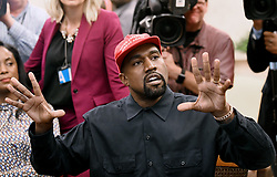 File photo dated October 11, 2018 of artist Kanye West speaks in the Oval Office of the White House during a meeting with President Trump to discuss criminal justice system and prison reform in Washington, DC. US rapper Kanye West took to Twitter over the weekend to announce he was running for president, with his declaration quickly going viral and prompting a flurry of speculation. His wife Kim Kardashian West and entrepreneur Elon Musk endorsed him. Photo by Olivier Douliery/ Abaca Press