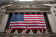 NYSE or New York Stock Exchange Facade with the American Flag on Wall Street in New York City. (Photo by Ben Hider) Ternium annual investor meeting at the New York Stock Exchange in New York City (Photo By Ben Hider)