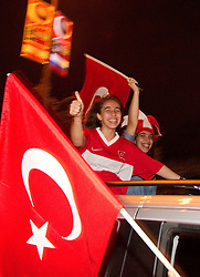 Fans of Turkey celebrate at the highroad after winning the second semifinal basketball match between National teams of Serbia and Turkey at 2010 FIBA World Championships on September 11, 2010 at the Sinan Erdem Dome in Istanbul, Turkey. Turkey defeated Serbia 83 - 82 and qualified to finals.  (Photo By Vid Ponikvar / Sportida.com)