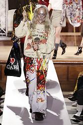 February 17, 2019 - London, GB - Vivienne Westwood. Model On Catwalk, Woman Women, London Fashion Week 2019 Ready To Wear For Fall Winter, Defile, Fashion Show Runway Collection, Pret A Porter, PAP, Modelwear, Modeschau Laufsteg Autumn Herbst England, Great Britain, .Model, Fashion Show, Runway, Catwalk, Style, Look, (Credit Image: © FashionPPS via ZUMA Wire)