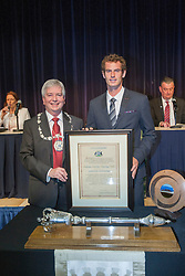 Andy with Provost of Stirling Mike Robbins. Andy Murray received the Freedom of Stirling from Stirling Council, who have recognised the Wimbledon champion's sporting achievements at a special council meeting at Dunblane High School.<br /> © Michael Schofield.
