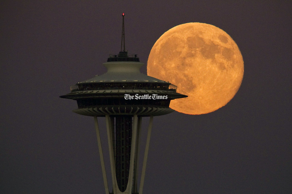 A super full moon rises over the Seattle skyline. (Bettina Hansen / The Seattle Times)