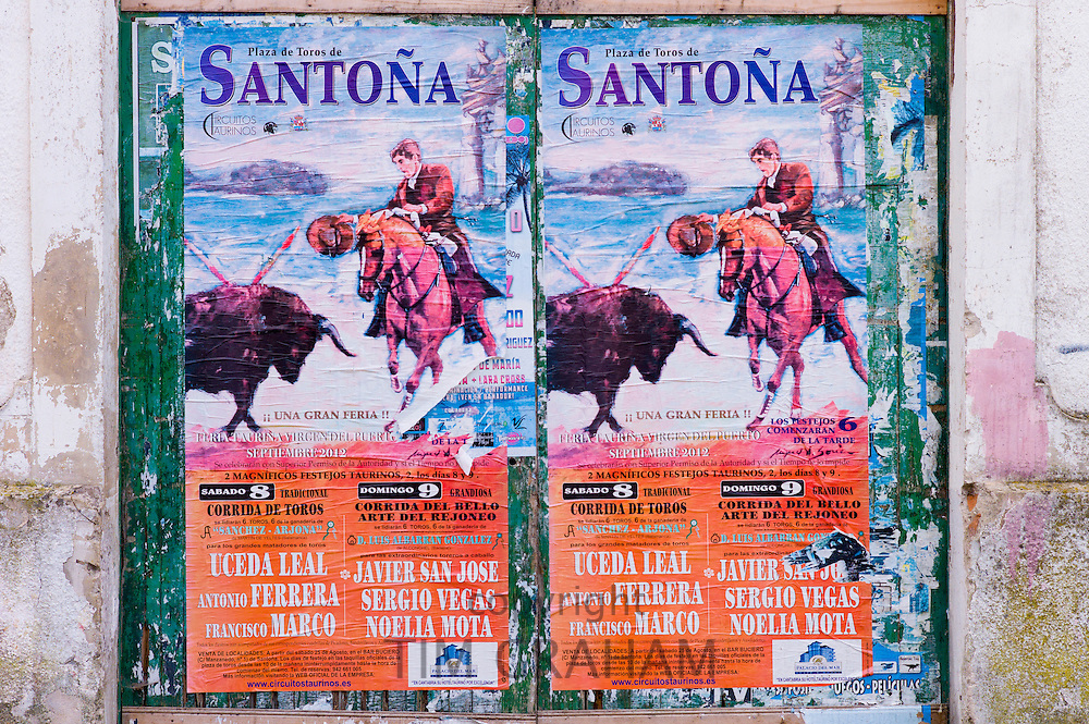 Plaza de Toros de Santona bullfight poster in Cantabria, Northern Spain