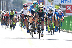 May 24, 2018 - Japan - Slovenian rider Grega Bole from Bahrain - Merida Team sprints to take the fourth place in Minami Shinshu stage, 123.6km on Shimohisakata Circuit race, the fifth stage of Tour of Japan 2018. .The winner, French man Thomas Lebas takes the Race Leader Green Jersey with three stages to go..On Thursday, May 24, 2018, in Lida, Nagano Prefecture, Japan. (Credit Image: © Artur Widak/NurPhoto via ZUMA Press)