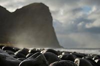 Beach stones at Unstad beach, Vestvågøy, Lofoten Islands, Norway