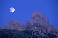 Moonrise over the Grand Teton, from Targhee NF, on the west slope of the Teton Range, WYOMING