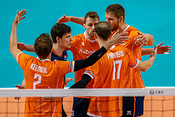 Just Dronkers of Netherlands, Robbert Andringa of Netherlands, Thijs Ter Horst of Netherlands in action during the CEV Eurovolley 2021 Qualifiers between Croatia and Netherlands at Topsporthall Omnisport on May 16, 2021 in Apeldoorn, Netherlands