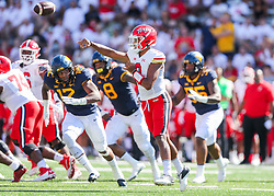 Sep 4, 2021; College Park, Maryland, USA; Maryland Terrapins quarterback Taulia Tagovailoa (3) throws a pass during the first quarter against the West Virginia Mountaineers at Capital One Field at Maryland Stadium. Mandatory Credit: Ben Queen-USA TODAY Sports