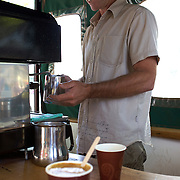 A coffee maker in Trafalgar Street, Nelson, at a mobile food and drink vendor on a street corner, Nelson, New Zealand, 1st February 2011, Photo Tim Clayton