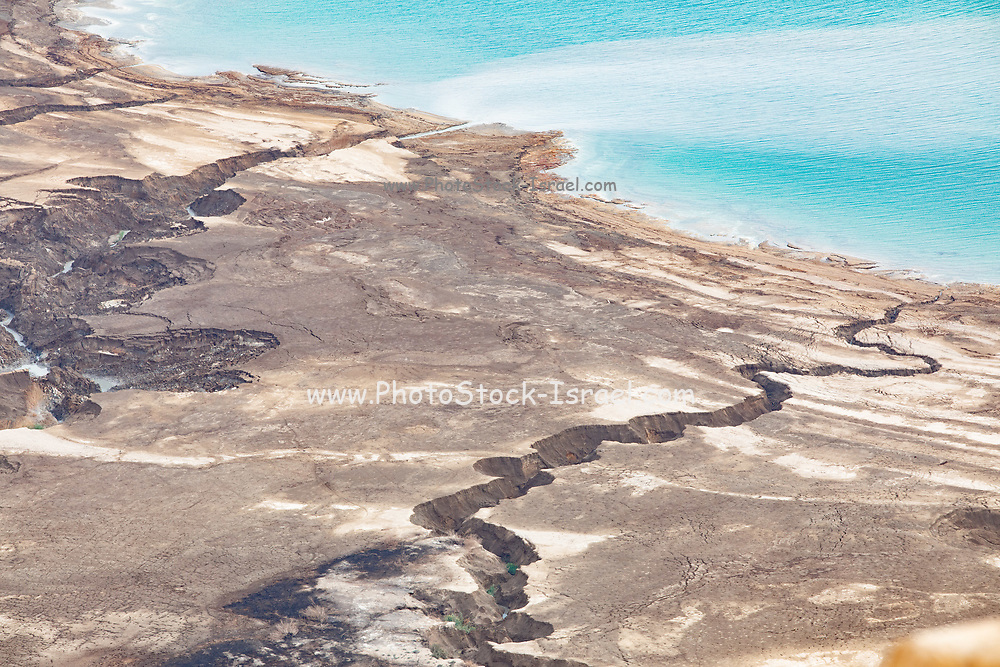 Elevated view of a sinkhole on the shore of the Dead Sea, Israel