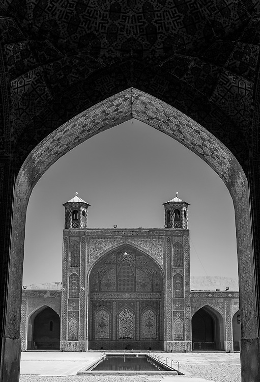 Monochrome image of the Vakil Mosque in the city of Shiraz, Iran