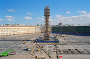 Saint Petersburg, Russia, August 2002..Reconstruction work in Palace Square. Russia's northern capital is undergoing major renovation and reconstruction in advance of its' 300th anniversary in 2003....