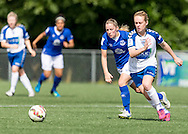 Beth Hepple (Durham Womens FC) in action against Kelly Jones (Everton Ladies) during the FA Women's Super League match between Durham Women FC and Everton Ladies at New Ferens Park, Belmont, United Kingdom on 30 August 2015. Photo by George Ledger.