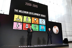 Stephen Fry and Richard Curtis speak at the Bill and Melinda Gates foundation's Goalkeepers event at Jazz at Lincoln Center in New York.