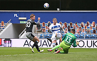 Queens Park Rangers' Jordy de Wijs clears from Sheffield Wednesday's Jordan Rhodes<br /> <br /> Photographer Rob Newell/CameraSport<br /> <br /> The EFL Sky Bet Championship - Queens Park Rangers v Sheffield Wednesday - Saturday 10th April 2021 - Loftus Road - London <br /> <br /> World Copyright © 2021 CameraSport. All rights reserved. 43 Linden Ave. Countesthorpe. Leicester. England. LE8 5PG - Tel: +44 (0) 116 277 4147 - admin@camerasport.com - www.camerasport.com