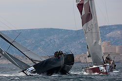 Ran collided with Gladiator. Ran had substantial damage to the stern while Gladiator broke their bowsprit. AUDI MedCup Marseille, France, Marseille Trophy, (14-19 June 2011) © Sander van der Borch / Sea&Co