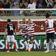 United States Forward Landon Donovan (10) during an international friendly soccer match between Scotland and the United States at EverBank Field on Saturday, May 26, 2012 in Jacksonville, Florida.  The United States won the match 5-1 in front of 44,000 fans. (AP Photo/Alex Menendez)