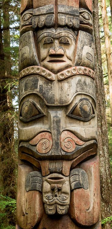 Totem pole in Sitka National Historic Park, Alaska.