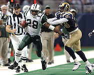 New York Jets running back Curtis Martin (28) rushes down the sidelines for a Jets first down in overtime, as Rams defensive back Jerametrius Butler defends on the play.  The Jets lost to St. Louis 32-29 in St. Louis, Missouri, January 2, 2005.