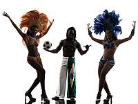Brazilian women samba dancer and soccer player man dancing silhouette on white background