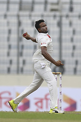 August 28, 2017 - Mirpur, Bangladesh - Bangladesh's Sakib Al Hasan bowls against Australia  during day two of the First Test match between Bangladesh and Australia at Shere Bangla National Stadium on August 28, 2017 in Mirpur, Bangladesh. (Credit Image: © Ahmed Salahuddin/NurPhoto via ZUMA Press)