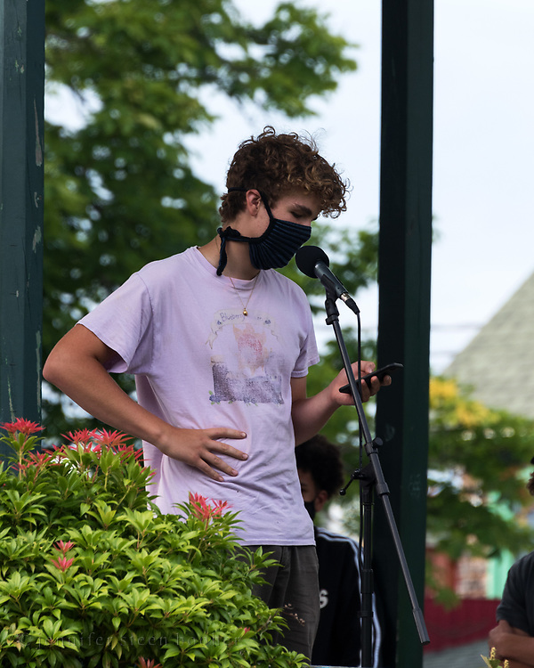 Bar Harbor, Maine. July 19, 2020. Alex Burnett speaks at the MDI Racial Justice Coalition rally.