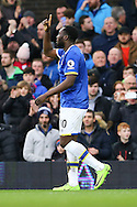 Romelu Lukaku of Everton celebrates after scoring his teams 2nd goal. Premier league match, Everton v Sunderland at Goodison Park in Liverpool, Merseyside on Saturday 25th February 2017.<br /> pic by Chris Stading, Andrew Orchard sports photography.