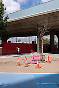 A man carries a bouquet of flowers past a dead tree at the underpass of the A13 Newham Way, at Canning Town in the East End, on 11th August 2021, in London, England.