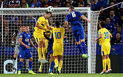 Ivan Marcano of FC Porto wins a header - Mandatory by-line: Matt McNulty/JMP - 27/09/2016 - FOOTBALL - King Power Stadium - Leicester, England - Leicester City v FC Porto - UEFA Champions League
