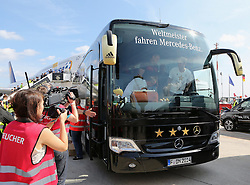 15.07.2014, Flughafen Tegel, Berlin, GER, FIFA WM, Empfang der Weltmeister in Deutschland, Finale, im Bild Der Bus der Nationalmannschaft verlaesst den Flughafen Berlin Tegel // during Celebration of Team Germany for Champion of the FIFA Worldcup Brazil 2014 at the Flughafen Tegel in Berlin, Germany on 2014/07/15. EXPA Pictures © 2014, PhotoCredit: EXPA/ Eibner-Pressefoto/ Eibner Pressefoto / pool<br /> <br /> *****ATTENTION - OUT of GER*****