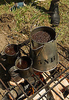 Coffee from Civil War times at the 5th NH Voluneer encampment at Sanbornton Old Home Day.  (Karen Bobotas/for the Concord Monitor)