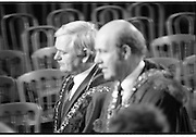 Inaugeration of President Hillery..1983.03.12.1983.12.03.1983.3rd December 1983...Dignitaries from home and abroad attended the Inaugeration of Patrick Hillery, as president of Ireland. the ceremony took place at St Patrick's Hall,Dublin Castle...Image of the Lord Mayor of Cork, John Dennehy and Lord Mayor of Waterford,Richard Jones as they take leave,after the inaugeration.