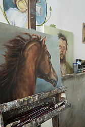 Painting of horse in art studio, Bavaria, Germany