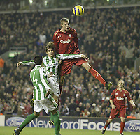 Photo: Aidan Ellis.<br /> Liverpool v Real Betis. UEFA Champions League.<br /> 23/11/2005.<br /> Liverpool's Peter Crouch misses with another header