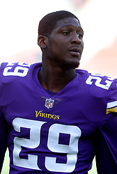 Minnesota Vikings' Xavier Rhodes during warm-up before during the International Series NFL match at Twickenham, London. PRESS ASSOCIATION Photo. Picture date: Sunday October 29, 2017. See PA story GRIDIRON London. Photo credit should read: Simon Cooper/PA Wire. RESTRICTIONS: News and Editorial use only. Commercial/Non-Editorial use requires prior written permission from the NFL. Digital use subject to reasonable number restriction and no video simulation of game.