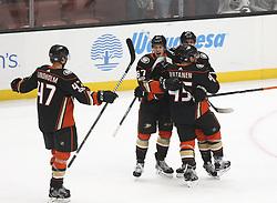 November 7, 2017 - Los Angeles, California, U.S - Anaheim Ducks players celebrate their goal during a 2017-2018 NHL hockey game against Los Angeles Kings in Anaheim, California on Nov. 7, 2017. Los Angeles Kings won 4-3 in overtime. (Credit Image: © Ringo Chiu via ZUMA Wire)