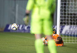 Falkirk's keeper Jamie MacDonald saving Cowdenbeath's last penalty.<br /> Full time : Falkirk 0 v 0 Cowdenbeath, Falkirk win on penalties after extra time, second round League Cup tie played at The Falkirk Stadium.
